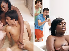 Ebony stepmom getting dual-teamed by her stepsons